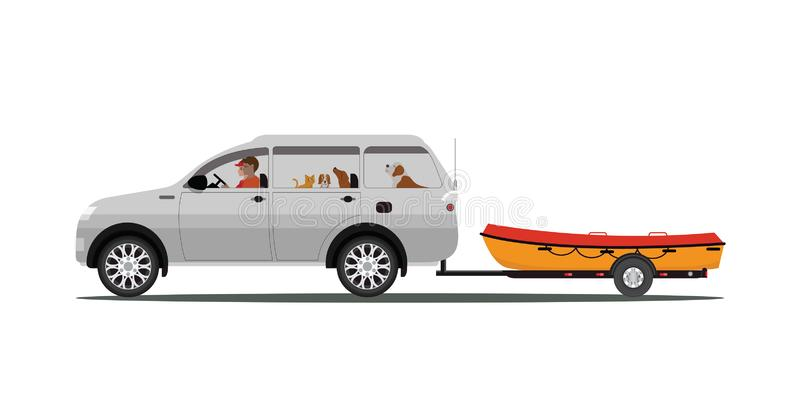 Family drives boat towing car isolated on white background. Boat on a trailer, banner on the theme of fishing, camping, adventures in nature vector royalty free illustration