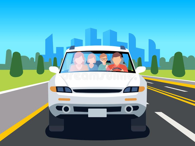 Family driving car. Auto driver father man woman child travel people weekend road landscape nature leisure flat image royalty free illustration