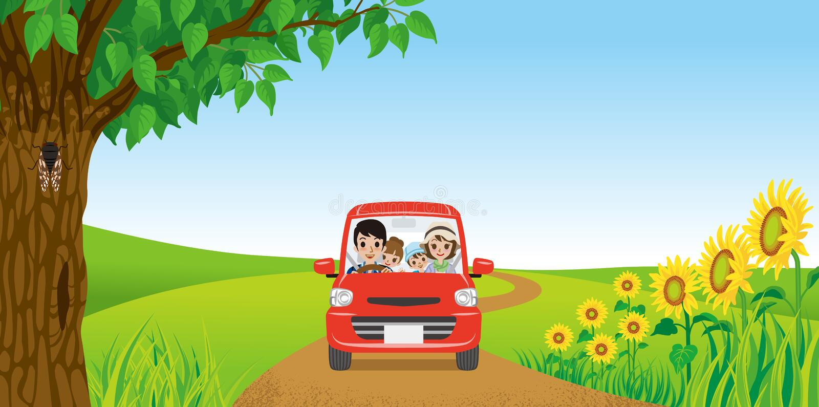 Family driving in Summer nature royalty free illustration
