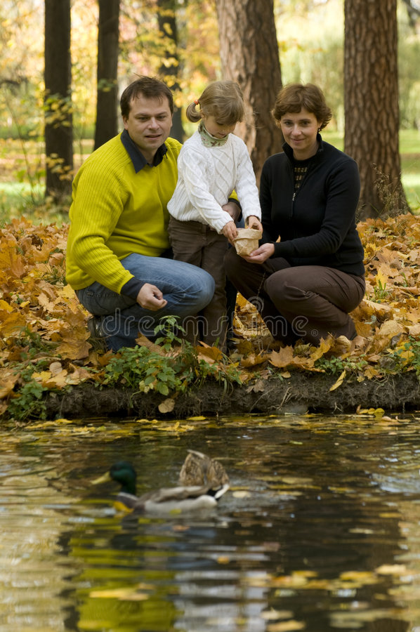 Download Family And Ducks In Autumn Park Stock Image - Image: 6808567