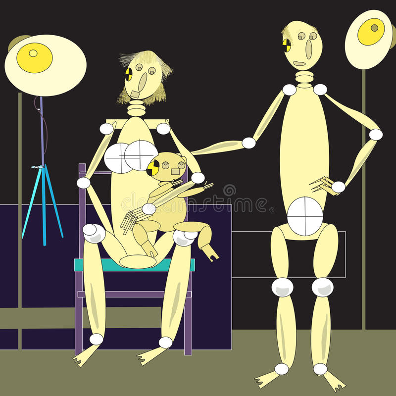 Family of dummies. Dummies family shot before crash test. illustration and vector stock illustration
