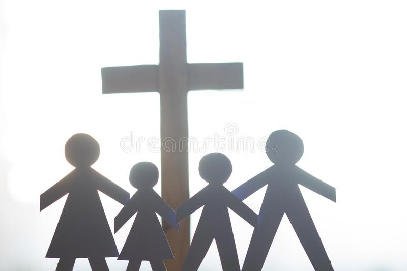 Family and easter cross catholic lifestyle concept stock images