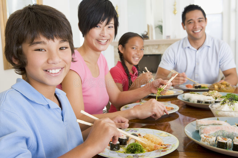 Family Eating A meal,mealtime Together royalty free stock photo