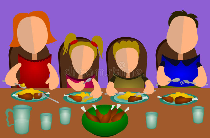 Download Family Eating Together Stock Illustration Image Of Meal