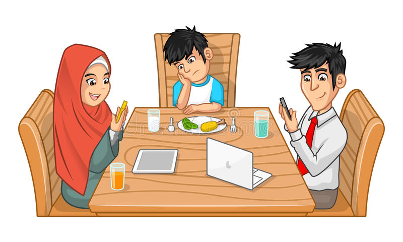 Family Eating Together Cartoon Character with SUllen Boy royalty free illustration