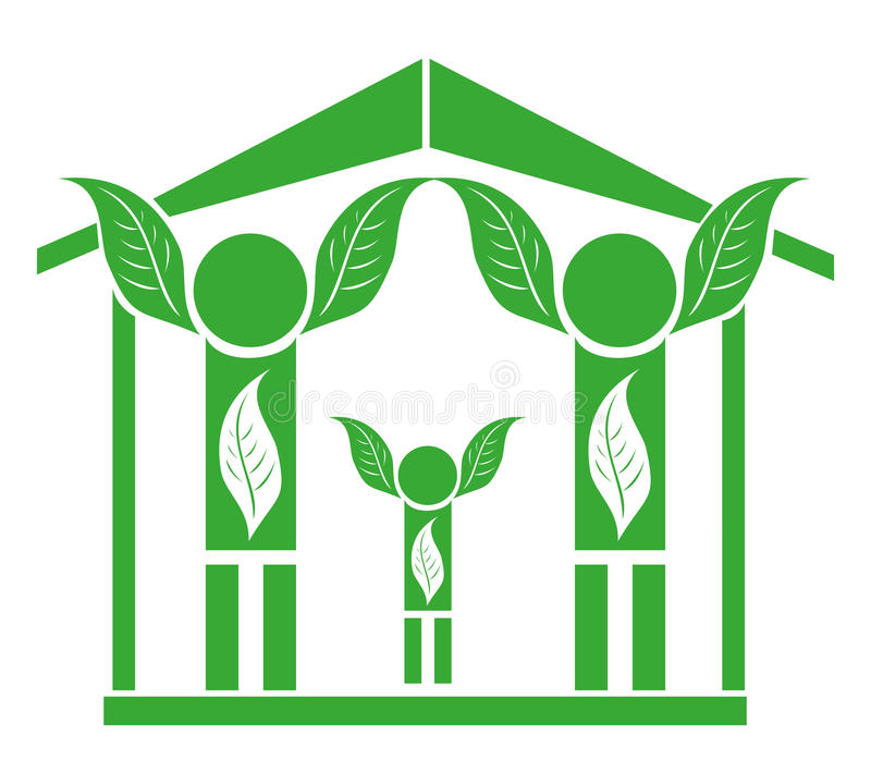 Download Family In Eco House stock vector. Image of environment - 40011891