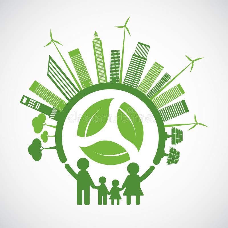 Family Ecology and Environmental Concept With Green Leaves Around Cities Help The World With Eco-Friendly Ideas vector illustration