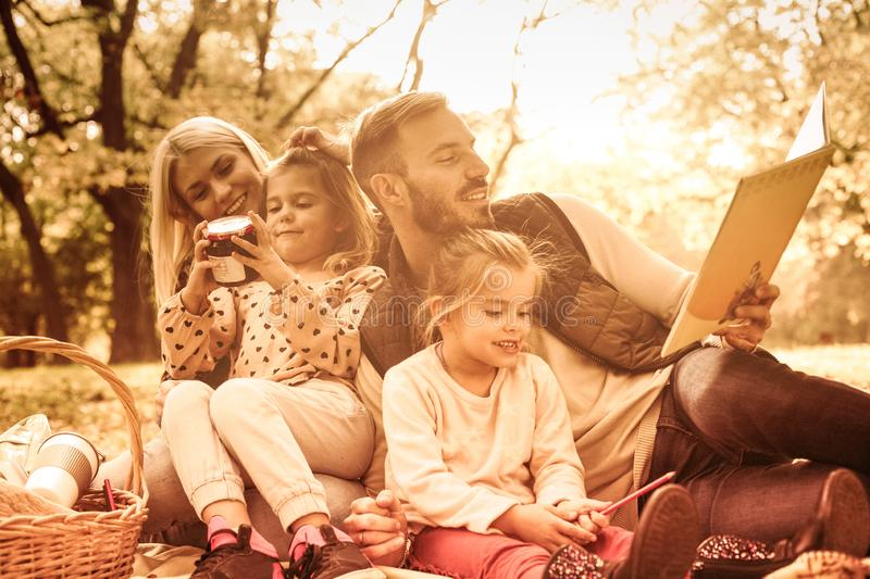 Family education in nature. stock images