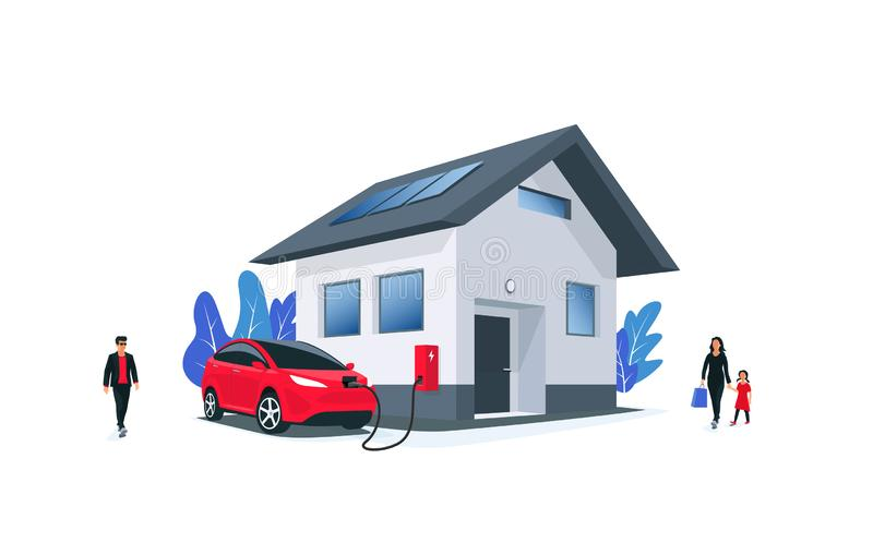 Family Electric Car Charging at Home on Wall Box Charger stock illustration