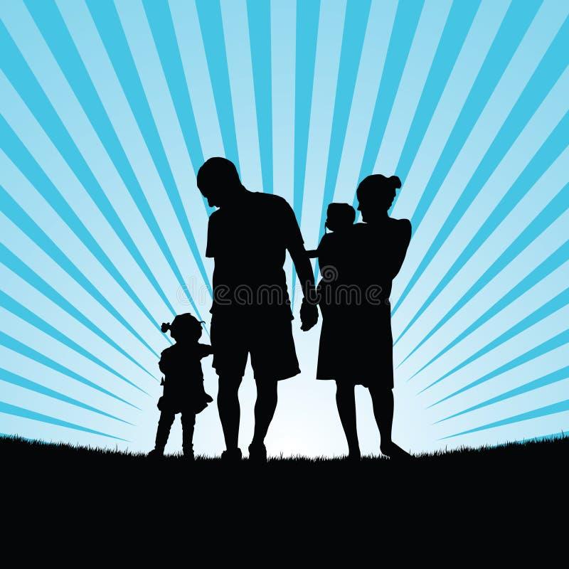 family enjou with children in nature silhouette color illustration vector illustration