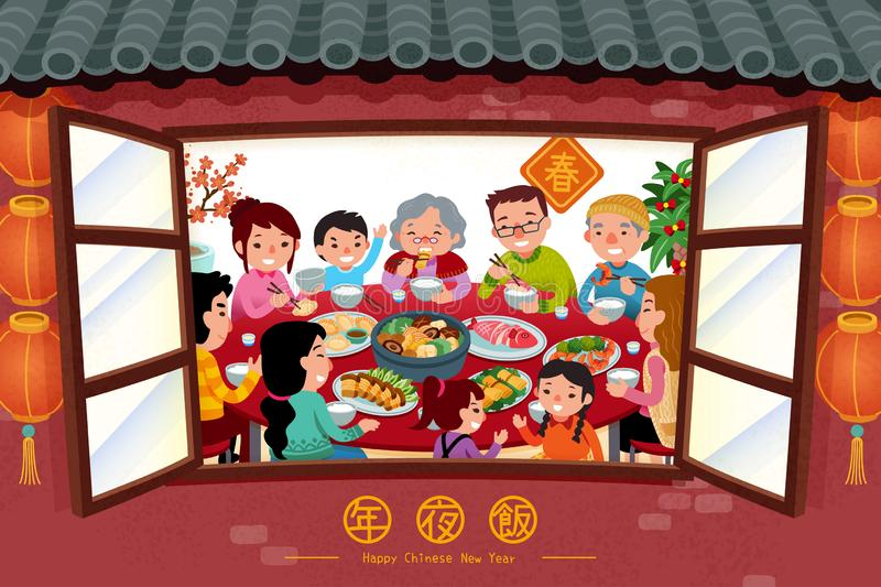 Family enjoy reunion dinner. Scene which look through from window in flat style, Chinese text translation: spring, reunion dinner stock illustration