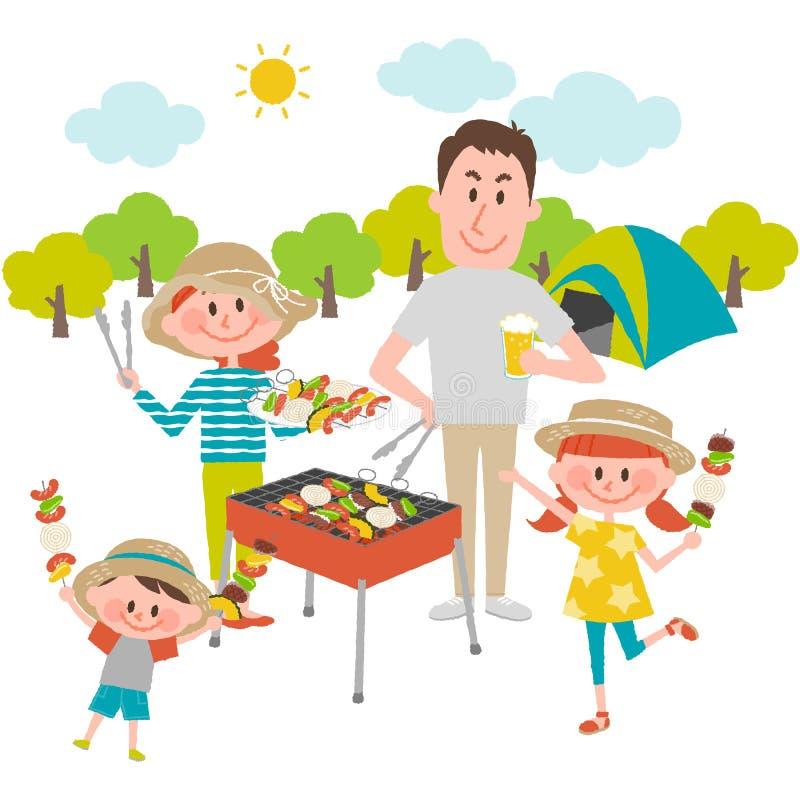 Family enjoying barbecue outdoors royalty free illustration