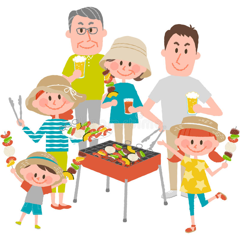 Family enjoying barbecue outdoors vector illustration
