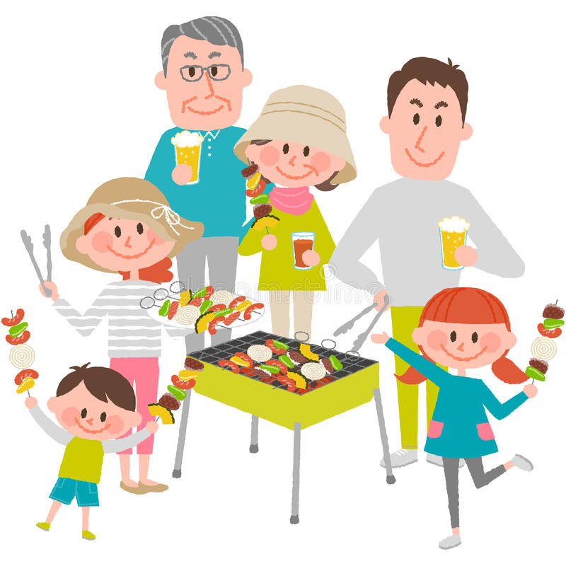 Family enjoying barbecue outdoors stock illustration