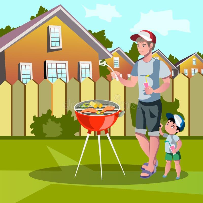 Family enjoying barbecue outdoors stock illustration