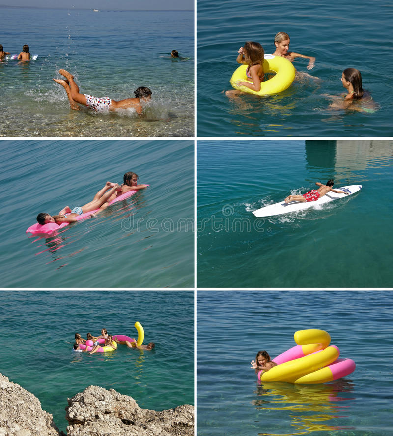 Download Family Enjoying In Blue Sea (collage) Stock Photo - Image: 13910482