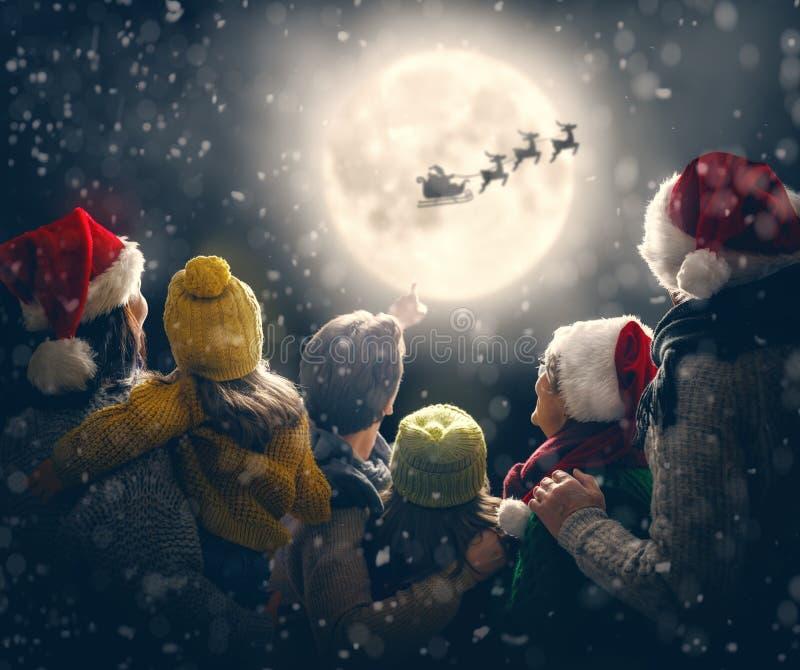 Family enjoying Christmas stock images