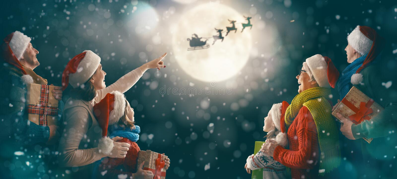 Family enjoying Christmas royalty free stock image