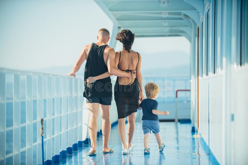 Family enjoying a cruise vacation together in summer. Family enjoying a cruise vacation together in summer stock image