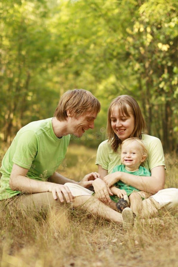 Family enjoying summer nature royalty free stock photo