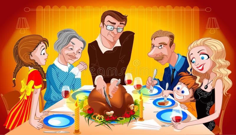 Family Enjoying Thanksgiving Day Turkey. Man cutting turkey on Thanksgiving Day