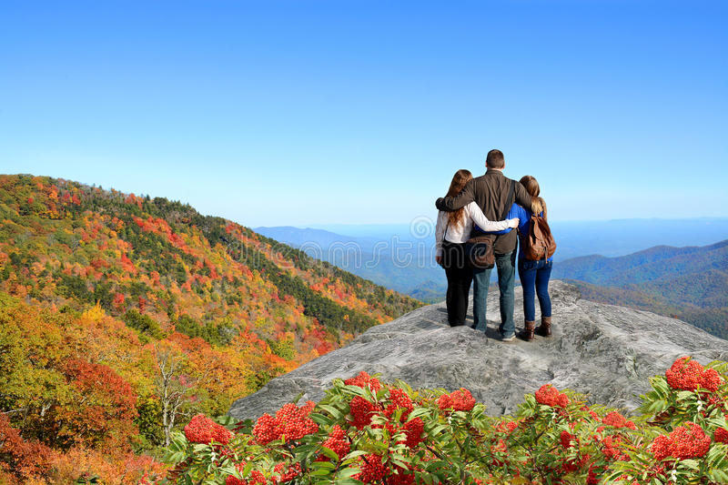 Download Family Enjoying Time In The Mountains On Vacation Stock Photo