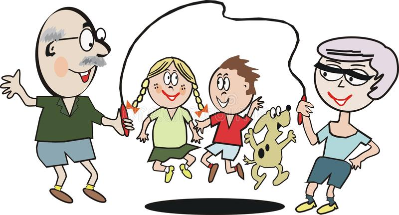 Family exercise cartoon. Cartoon of grandparents and children using skipping rope exercise vector illustration