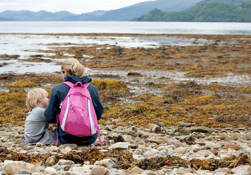 Family exploring scotland stock photography