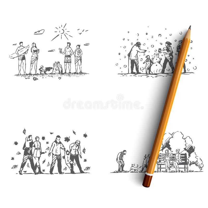 Family - family spending time together outdoors during all seasons of year vector concept set stock illustration