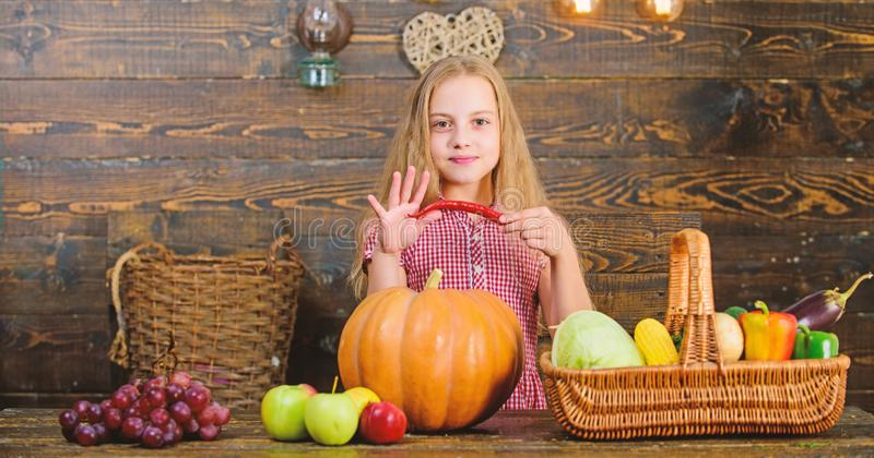 Family farm festival concept. Farm themed games and activities for kids. Girl kid at farm market with fall harvest. Child little girl celebrate harvesting. Kid stock photography