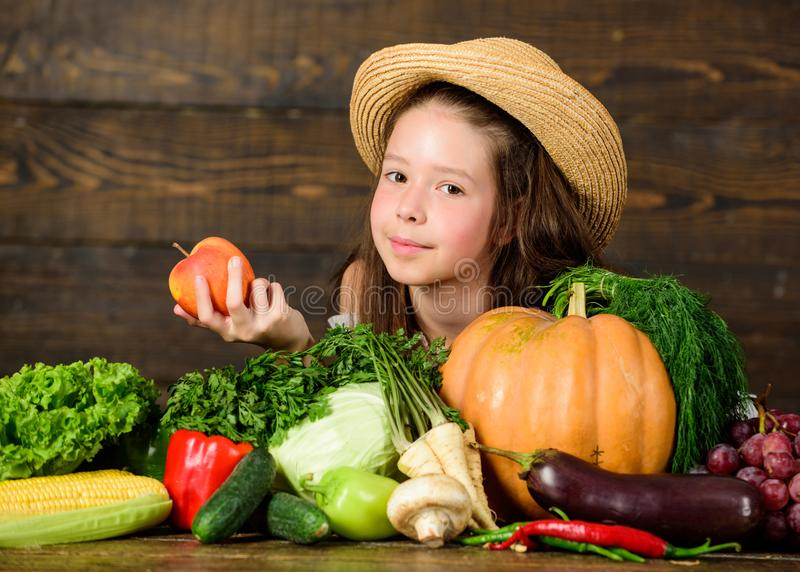 Family farm festival concept. Traditional autumnal fest. Farm activities for kids. Girl kid farm market with fall stock images