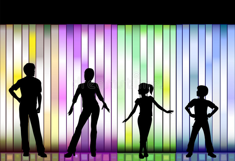 Family Fashion Show On Colorful Background Stock Image