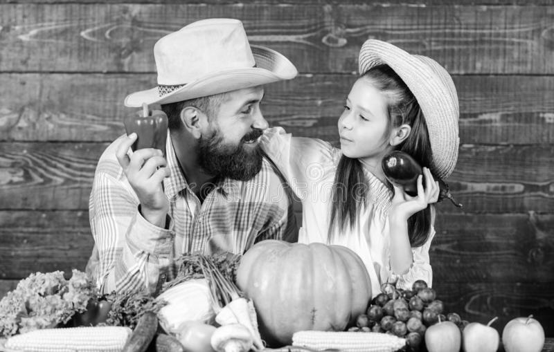 Family father farmer gardener with daughter near harvest vegetables. Man bearded rustic farmer with kid. Countryside stock photography