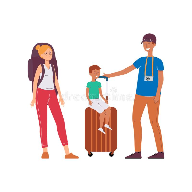 Family - father, mother and child travel flat cartoon vector illustration isolated. vector illustration