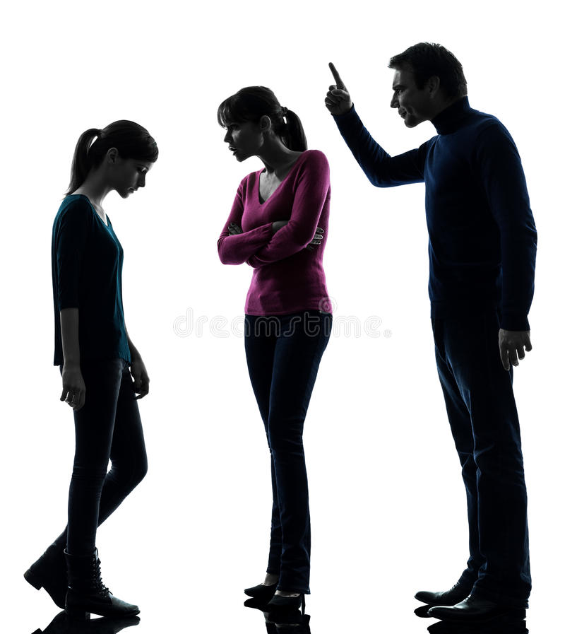 Family father mother daughte dispute reproach silhouette. One caucasian family father mother daughter men dispute reproach in silhouette studio on white stock photography