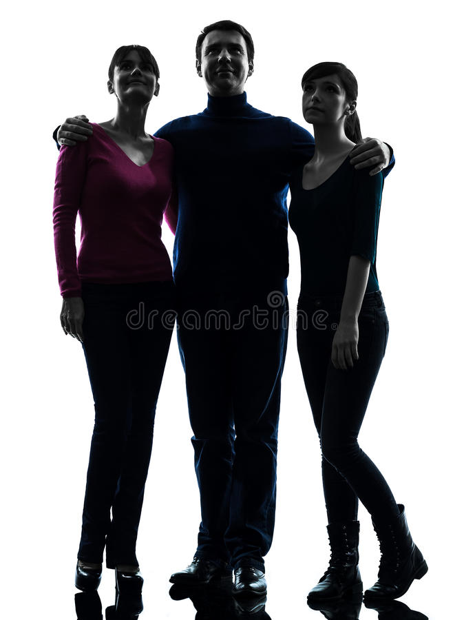 Family father mother daughter standing full length looking up stock photo