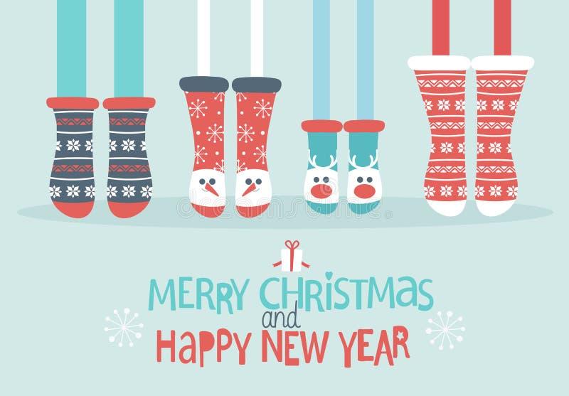 Family feet in Christmas socks. vector illustration