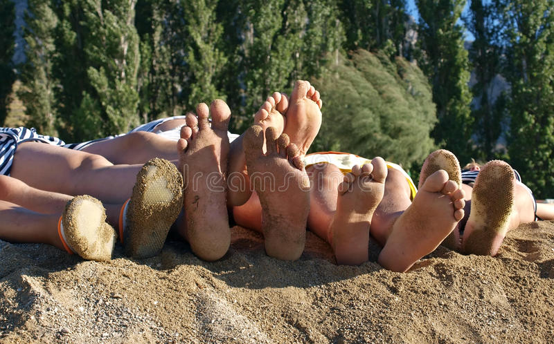 Download Family Feet At The Sandy Beach Stock Photo - Image: 16740998