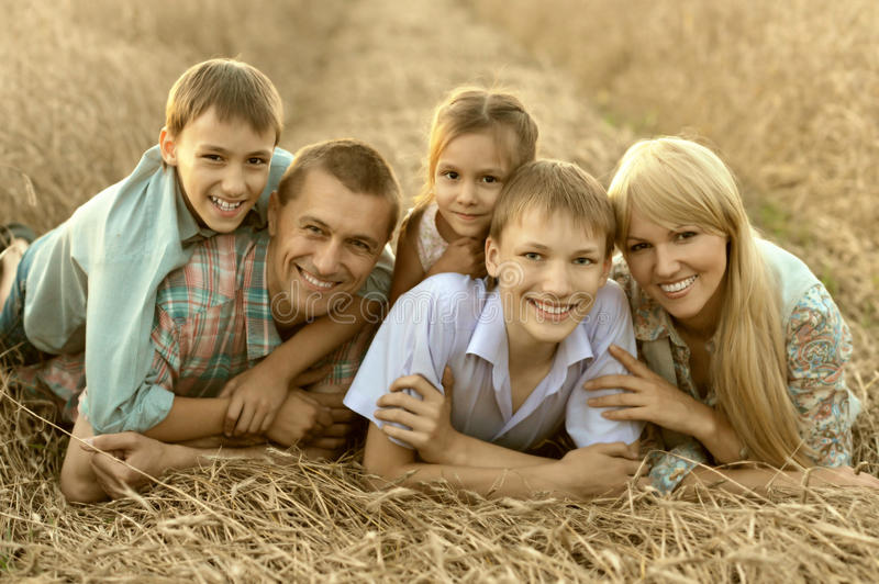 Family on field royalty free stock photography