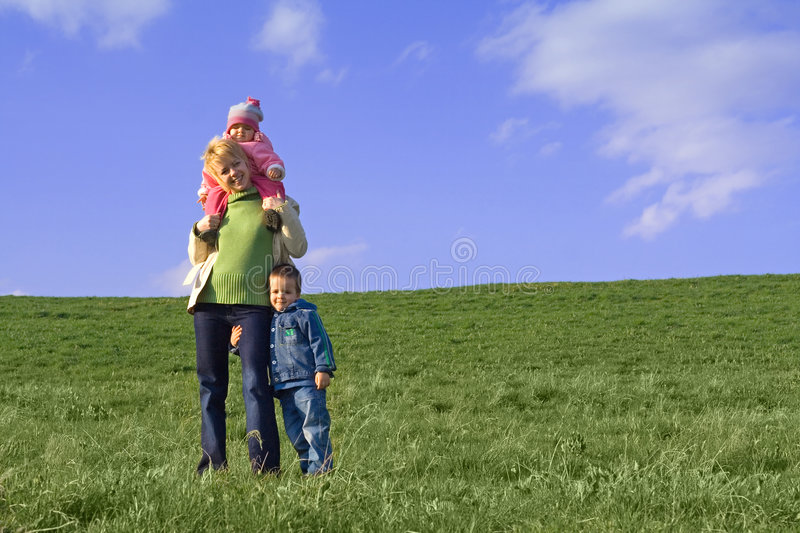 Download Family On The Field In Spring Stock Photography - Image: 2307342