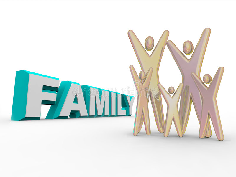 Family - Figures Beside the Word. A set of five figures representing family members standing beside the word FAMILY royalty free illustration
