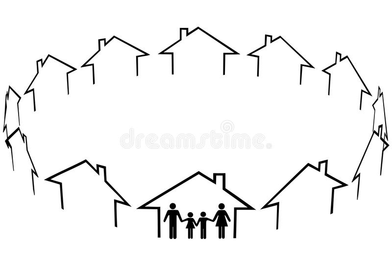 Family find home community neighbors houses. A family find a home a new community in circle of neighbors houses stock illustration
