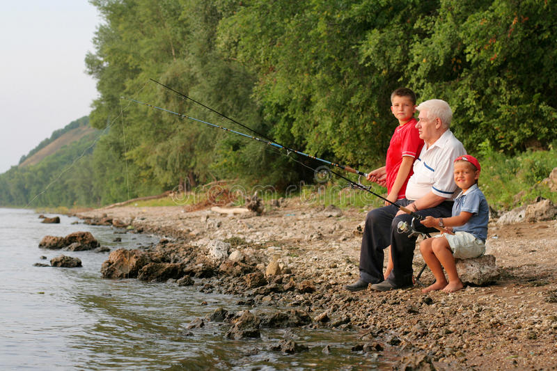 Download Family fishing stock image. Image of lure, forest, childhood - 13360929