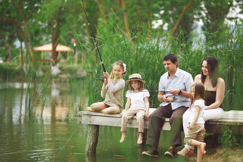 Family fishing royalty free stock image