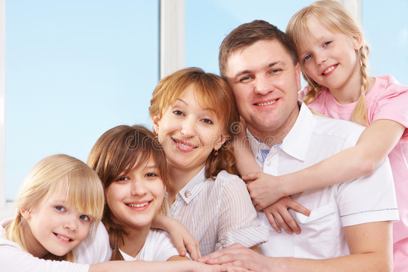 Family of five royalty free stock photography