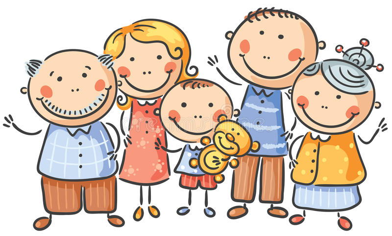 Cartoon family of five. Happy cartoon family of five, no gradients stock illustration