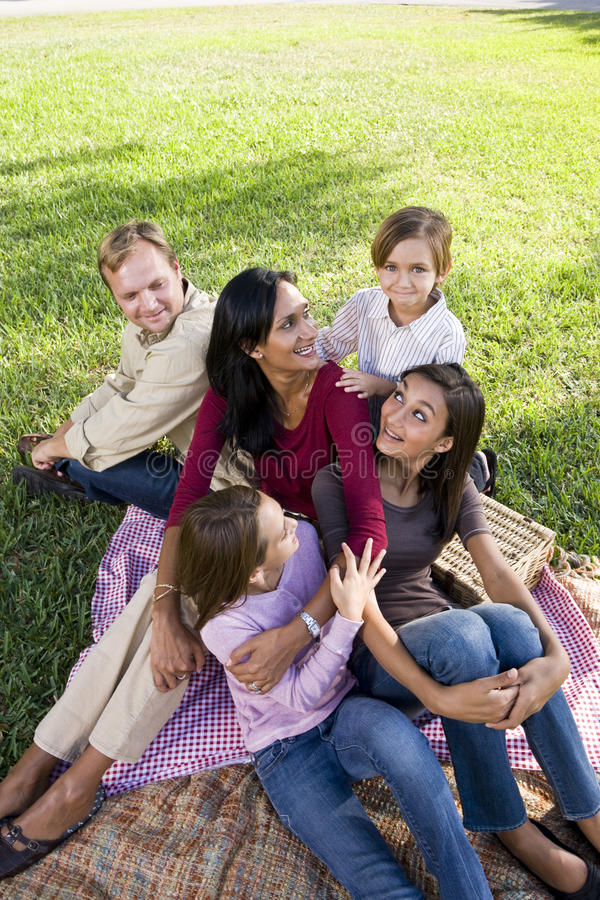 Family of five having picnic in park. Interracial family with three children having picnic in park royalty free stock images