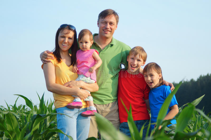 Family of a five at nature royalty free stock photo