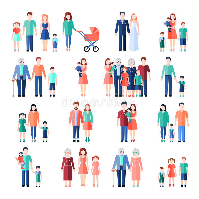 Family Flat Images Set vector illustration