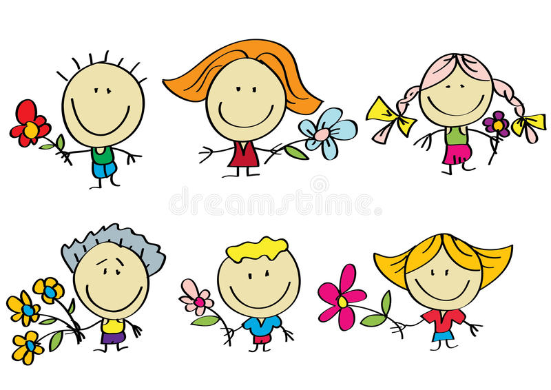 Family with flowers vector illustration